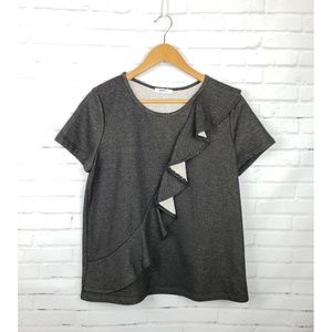 Anthro Pleione Charcoal Knit Ruffle Blouse
